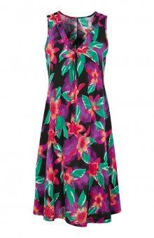 Úpletové šaty střihu do A s květinovým vzorem / bílá/se vzorem