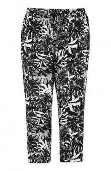 Capri kalhoty s gumou v pase / černá/bílá