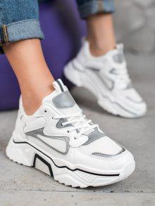 Trendy dámské bílé  tenisky bez podpatku 38