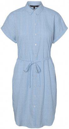 Vero Moda Dámské šaty VMHEAVEN SL ABK SHIRT DRESS WVN Placid Blue SNOW WHITE S
