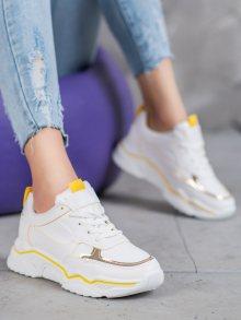 Designové dámské bílé  tenisky bez podpatku 37