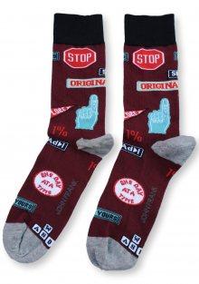 Pánské ponožky John Frank JFLSFUN56 UNI Vínová