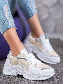 Klasické  tenisky dámské bílé bez podpatku