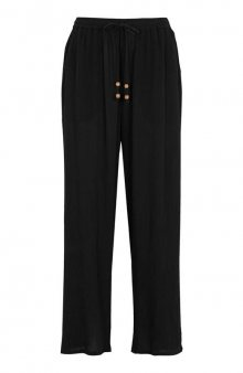 Ležérní krepové kalhoty / černá/se vzorem