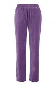 Velurové kalhoty s náplety / tm. fialová