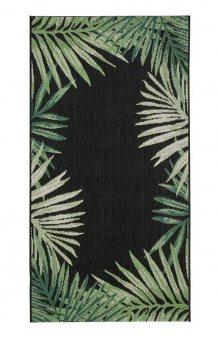 Koberec s palmovými listy / černá