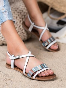 Pěkné  sandály dámské bílé bez podpatku