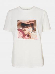 Bílé tričko s potiskem VERO MODA Flansa