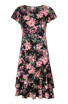 Úpletové šaty s volány / béžová/se vzorem