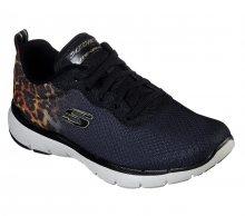 Skechers černé tenisky Flex Appeal 3 s leopardím vzorem - 38