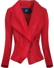 Červená bunda ramoneska s límcem (C8002) červená S (36)