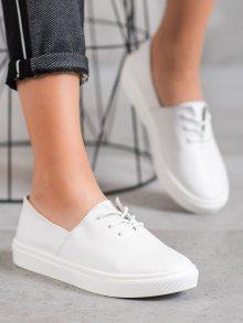 Jedinečné dámské bílé  tenisky bez podpatku 36