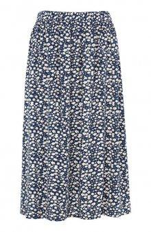 Široká sukně s gumou v pase / modrá/květovaná