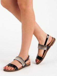Výborné černé dámské  sandály bez podpatku 36