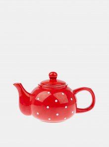 Červená puntíkovaná konvička na čaj Dakls
