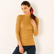 Blancheporte Žebrovaný pulovr se stojáčkem, délka cca 63 cm šafránová 38/40