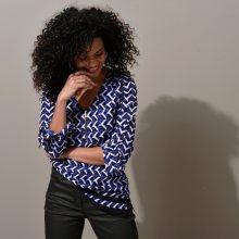 Blancheporte Tunika se zipem a grafickým designem tmavě modrá/černá 40