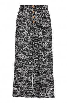 Krepová kalhotová sukně culotte se vzorem / černá/se vzorem