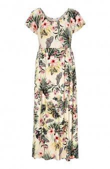 Úpletové maxi šaty s květovaným vzorem / béžová/se vzorem