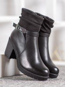 Originální černé dámské  kotníčkové boty na širokém podpatku 36