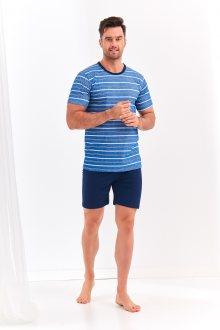 Krátké pánské pyžamo 072 MAX S-2XL džínové pruhy XL