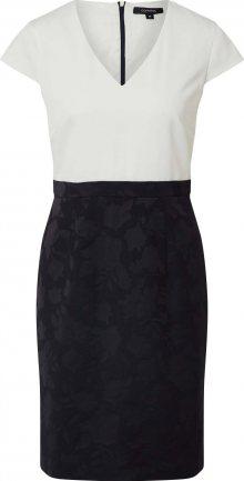 COMMA Pouzdrové šaty bílá / kobaltová modř