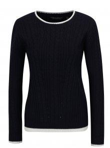 Tmavě modrý zimní svetr s bílými lemy Dorothy Perkins