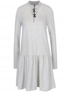Krémové žíhané mikinové šaty s dlouhým rukávem Noisy May Lilou