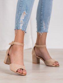 Exkluzívní dámské hnědé  sandály na širokém podpatku 36