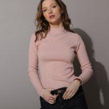 Blancheporte Žebrovaný pulovr se stojáčkem, délka cca 63 cm růžová pudrová 38/40