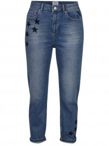 Modré zkrácené mom džíny s vysokým pasem a hvězdami Miss Selfridge