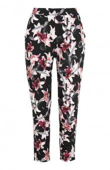 Úpletové kalhoty s postranními kapsami / černá/se vzorem