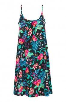 Plážové šaty s tropickým vzorem / černá/se vzorem