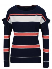 Korálovo-modrý pruhovaný svetr s volány Dorothy Perkins