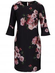 Černé květované šaty se zvonovými rukávy Dorothy Perkins