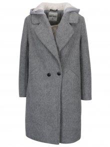 Šedý vlněný  kabát s kapucí a umělým kožíškem TALLY WEiJL