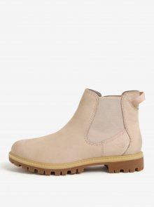 Světle růžové kožené chelsea boty Tamaris