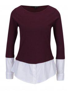 Vínové tričko s všitým spodním lemem a rukávy TALLY WEiJL