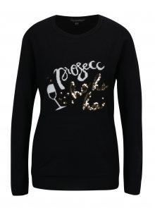 Černý lehký svetr s flitry a nápisem Dorothy Perkins