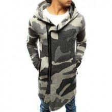 Pánský svetr rozepínací s kapucí maskáčový šedý
