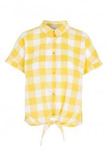 Kostkovaná zavazovací košile / žlutá/kostkovaný vzor