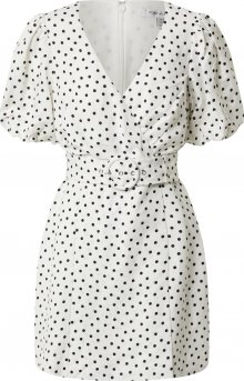 Forever New Šaty \'Maggie Linen Wrap Dress\' černá / bílá
