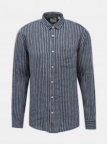 Tmavě modrá lněná pruhovaná slim fit košile ONLY & SONS Luke