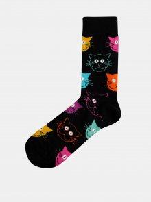 Černé vzorované ponožky Happy Socks Cat