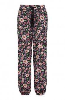 Úpletové kalhoty se vzorem / černá/květovaná