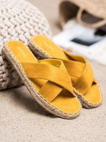Zajímavé dámské  nazouváky zlaté bez podpatku 36