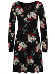 Černé květované šaty s dlouhým rukávem Dorothy Perkins