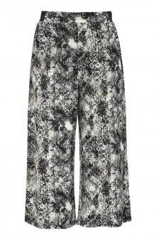 Vzorované kalhoty culotte z úpletu / modrá/se vzorem