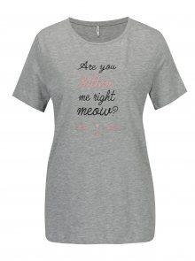 Šedé žíhané tričko s potiskem a vyšíváním ONLY Kita