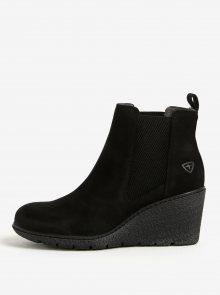 Černé kožené chelsea boty na klínku Tamaris